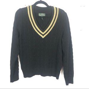 LAUREN RALPH LAUREN black knit v neck sweater L25